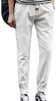 Elonglin Men Linen Pants Jogging Side Stripe Elastic Waist Drawstring Trousers Blanc CA L (Asia 3XL)