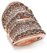 "Joan Boyce ""Edgy in Rosetone"" Clear and Black Diamond-Color Crystal Rosetone Knuckle Ring"