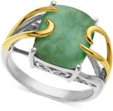 Macy's 14k Gold and Sterling Silver Ring, Jade Rectangle (10-12mm)