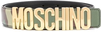 Moschino Camouflage Logo Plaque Belt