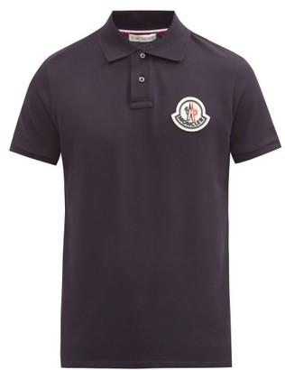 Moncler Logo-patch Cotton-pique Polo Shirt - Navy