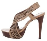 Diane von Furstenberg Leather Laser Cut Sandals
