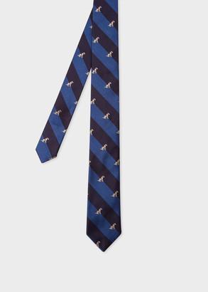 Men's Blue Stripe 'Dog' Embroidered Motif Silk Tie