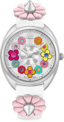 Fendi Momento Flower Stainless Steel & Leather-Strap Watch