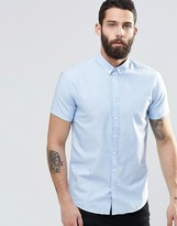 Lindbergh Oxford Shirt With Short Sleeves In Slim Fit In Blue