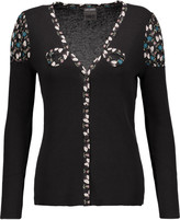 Anna Sui Printed silk blend-trimmed ribbed cotton-blend cardigan