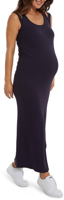 Stowaway Collection Double Strap Ribbed Maternity Maxi Dress