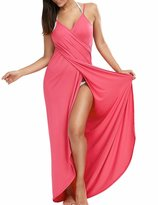 Sexyshine Women's Sexy Spaghetti Strap Backless Solid Color Beach Dress Bikini Cover-ups PI,M