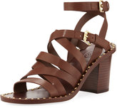 Ash Puket Leather Spiked Sandal, Medium Brown