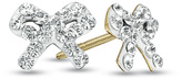 Zales Child's White Crystal Bow Earrings in 14K Gold
