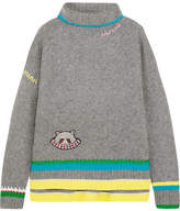 Mira Mikati Embroidered Appliquéd Cashmere And Wool-blend Turtleneck Sweater - Gray