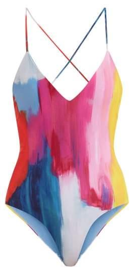 Mara Hoffman Emma Cross Back Swimsuit - Womens - Pink Multi