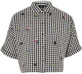 Topshop Gingham Embroidered Shirt