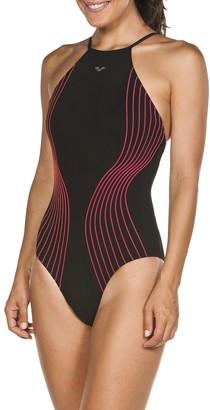 Arena Plus Size Aura Light Crisscross Halter One-Piece Swimsuit