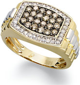 Macy's 10k Gold and White Gold Ring, White Diamond (1/3 ct. t.w.) and Natural Brown Diamond (3/4 ct. t.w.) Ring