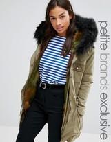 Glamorous Petite Faux Fur Lined Parka Jacket