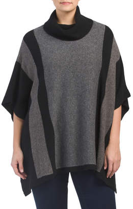 Plus Woolblend Cowl Neck Colorblock Poncho
