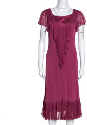 Kenzo Pink Knit Ruffle Detail Midi Dress L