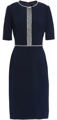 Jenny Packham Crystal-embellished Tulle-trimmed Stretch-cady Dress