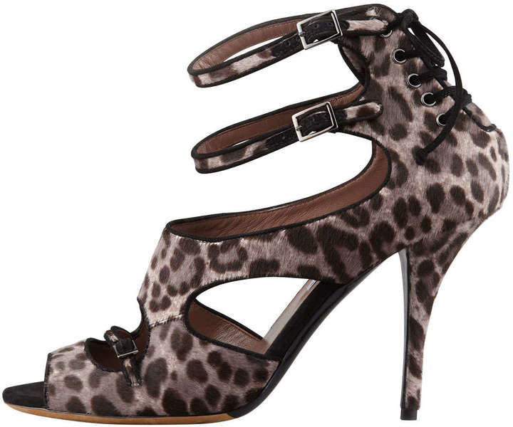 Tabitha Simmons Bailey Double-Wrap Leopard-Print Calf Hair Sandal