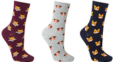 John Lewis Mini Animal Faces Ankle Socks, Pack of 3, Multi