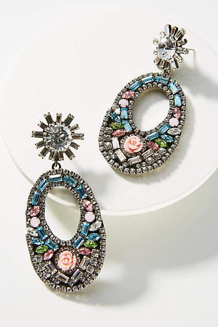 Anthropologie Glass Mosaic Drop Earrings