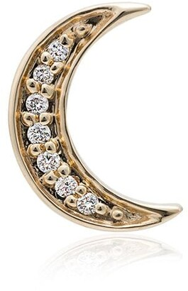 Andrea Fohrman 14K gold and sapphire crescent moon singular earring