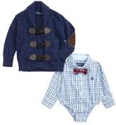Andy & Evan Infant Boy's Shirtzie Check Bodysuit, Bow Tie & Toggle Cardigan Set