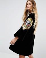 Reclaimed Vintage Velvet Souvenir Kimono With Guns & Roses Patches
