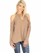 Fashion Club USA Cold Shoulder Long Sleeve Blouse.