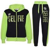 a2z4kids Kids Girls Tracksuit #SELFIE Print Hoodie & Bottom Jog Suit New Age 7-13 Years (, Black & Neon Green)