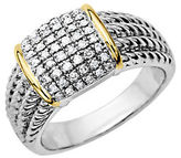 Lord & Taylor Diamond Accented Ring in Sterling Silver with 14 Kt. Yellow Gold