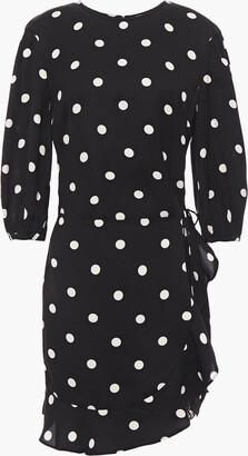 Rebecca Vallance Ruffled Polka-dot Crepe Mini Dress
