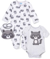Bon Bebe Gray Raccoon Footie Set - Infant