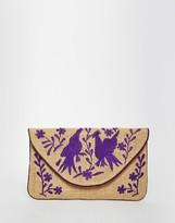 Moyna Jute Clutch With Purple Embroidery