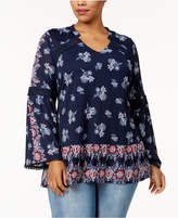 Style&Co. Style & Co Plus Size Crochet-Trim Printed Tunic, Created for Macy's