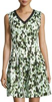 Andrew Marc Sleeveless V-Neck Fit-&-Flare Dress, Mint