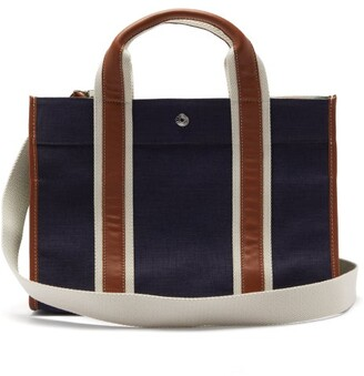 Rue De Verneuil - Traveller Medium Leather-trim Linen Tote Bag - Navy Multi