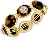 Charter Club Gold-Tone Crystal & Tortoise-Look Stretch Bracelet, Created for Macy's