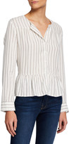 Rails Ruby Striped Peplum Button-Down Top