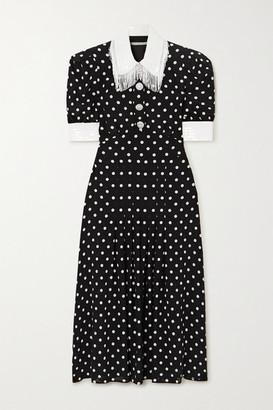 Alessandra Rich Sequin-embellished Polka-dot Silk Crepe De Chine Midi Dress - Black