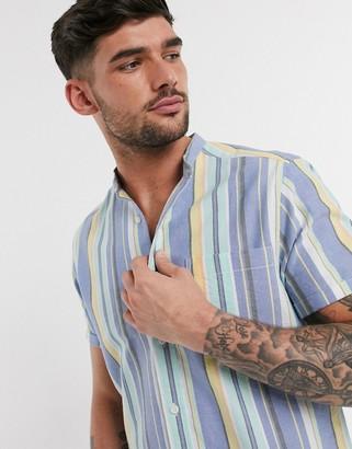 Asos DESIGN regular fit grandad collar oxford stripe shirt in pastel colors