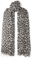 Chan Luu Fringed Leopard-print Cashmere And Silk-blend Scarf - Gray
