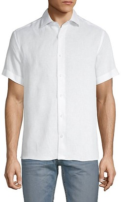 Bertigo Will Solid Linen Short-Sleeve Shirt