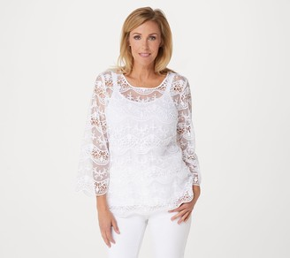 Dennis Basso Embroidered Mesh Top with Knit Camisole