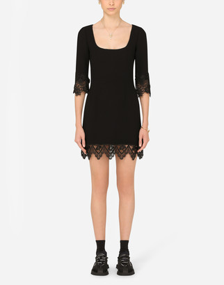 Dolce & Gabbana Short Wool Crepe Dress With Lace Details