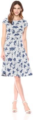 Sandra Darren Women's 1 PC Cap Sleeve Printed ITY Puff Fit & Flare Dress