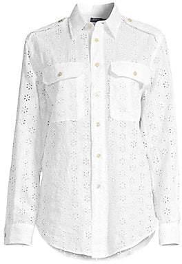 8e0ef1be22947e Polo Ralph Lauren Women's Eyelet Linen Button-Down Shirt