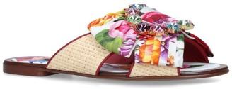 Dolce & Gabbana Floral Bow Slides