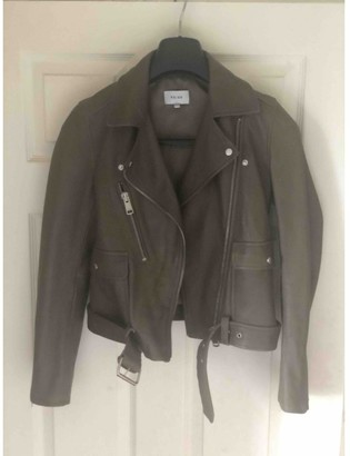 Reiss Khaki Leather Jacket for Women